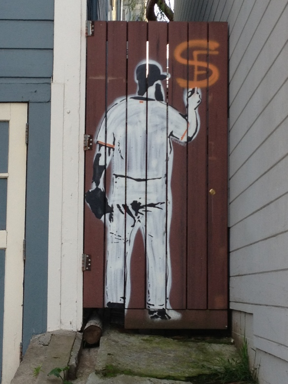 Stencil of SF Giants pitcher Brian Wilson.